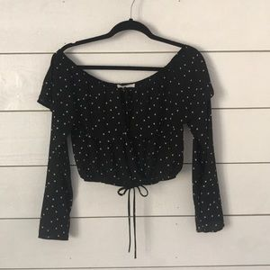 Black crop top with white stars